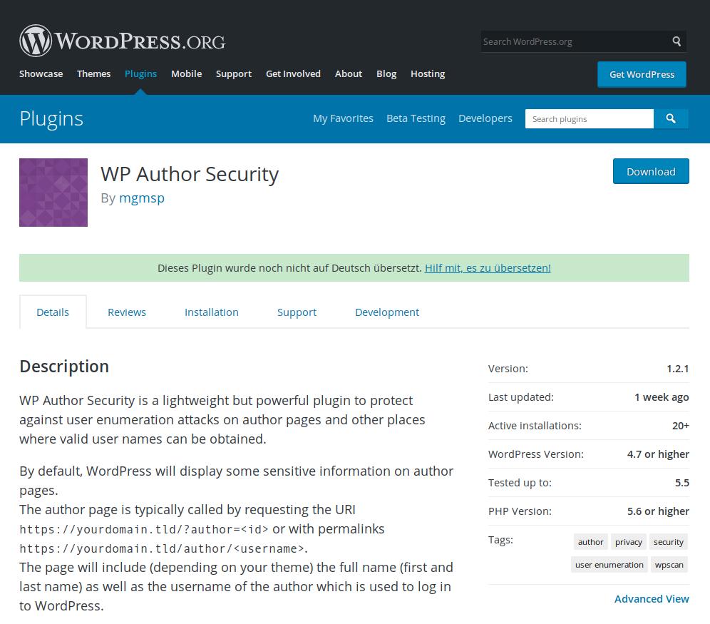 Update - WordPress Author Security